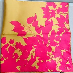 Dior Silk Scarf Yellow & Pink Floral NWOT 70x70cm